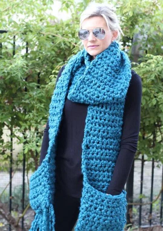 Crochet Fringe Scarf with Pockets free pattern - Crochet Pattern for Pocket Shawls