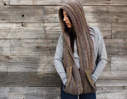 Crochet Kodiak Hooded Pocket Scarf free pattern - Crochet Pattern for Pocket Shawls