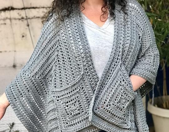 Crochet Lazy Diamond Boho Pocket Shawl free pattern - Crochet Pattern for Pocket Shawls