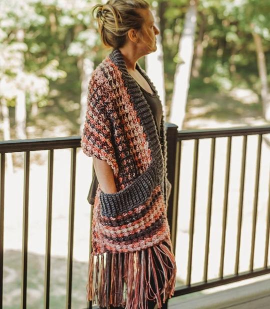 Crochet Pebble Creek Pocket Scarf easy pattern - Crochet Pattern for Pocket Shawls