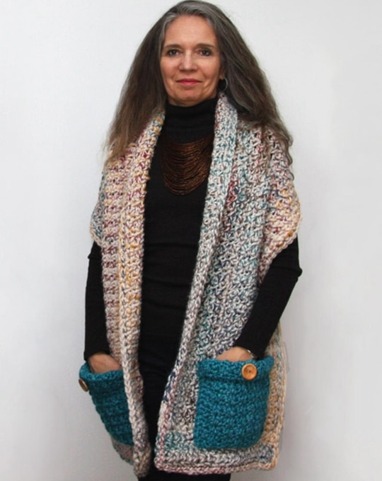 Crochet Reader's Wrap Shawl easy pattern - Crochet Pattern for Pocket Shawls