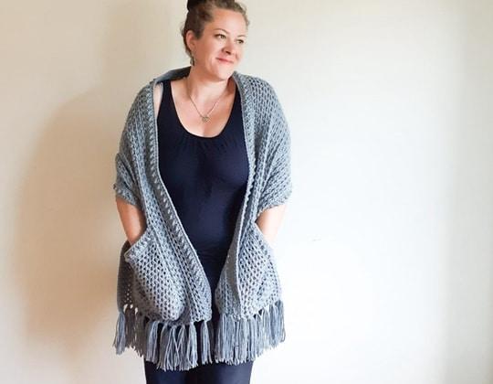 Crochet Sabrina Pocket Wrap free pattern - Crochet Pattern for Pocket Shawls