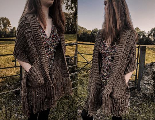 Crochet Shawl with Pockets free pattern - Crochet Pattern for Pocket Shawls