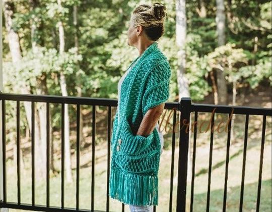 Crochet Turnberry Pocket Scarf easy pattern - Crochet Pattern for Pocket Shawls