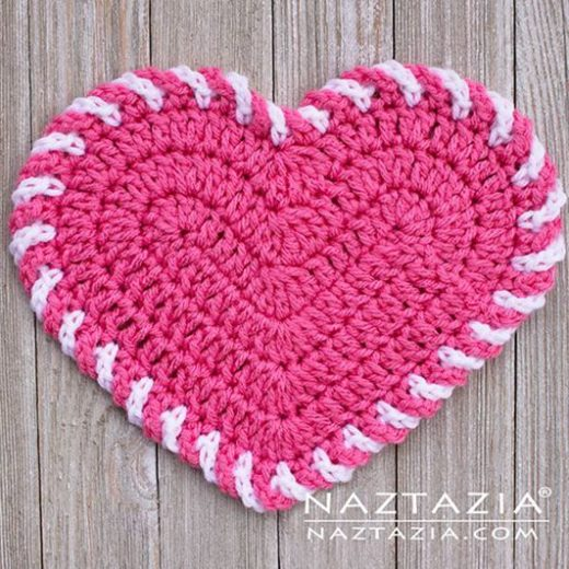 Crochet Light Heart Dishcloth free pattern