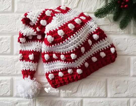 Crochet Bobble and Stripes Santa Hat free pattern - Crochet Pattern for Christmas Beanie