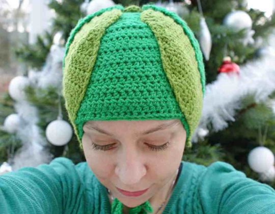 Crochet Brussels Sprout Christmas Hat free pattern - Crochet Pattern for Christmas Beanie