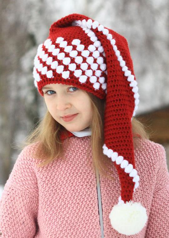 Crochet Christmas Santa Hat easy pattern - Crochet Pattern for Christmas Beanie