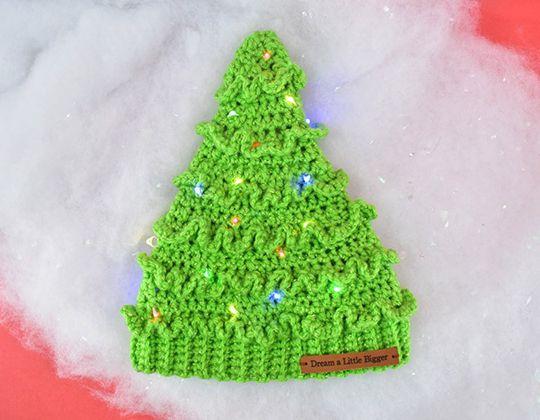 Crochet Christmas Tree Hat free pattern - Crochet Pattern for Christmas Beanie