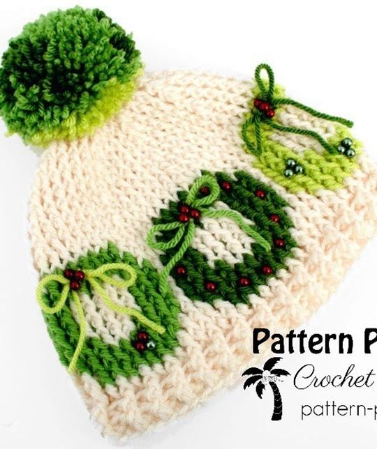 Crochet Christmas Wreath Hat free pattern - Crochet Pattern for Christmas Beanie