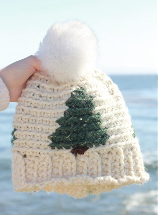 Crochet Pinewood Beanie free pattern - Crochet Pattern for Christmas Beanie