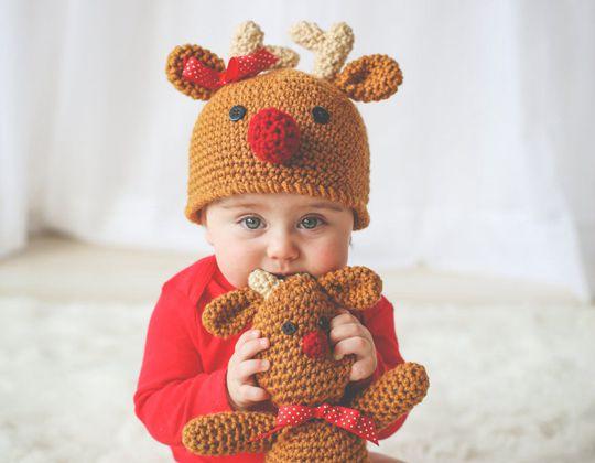 Crochet Reindeer Hat easy pattern - Crochet Pattern for Christmas Beanie