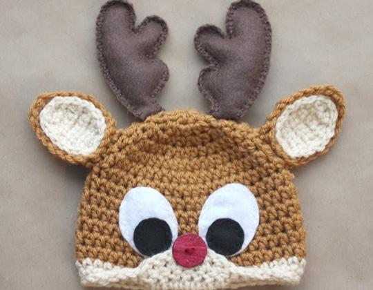 Crochet Rudolph the Reindeer Hat free pattern - Crochet Pattern for Christmas Beanie