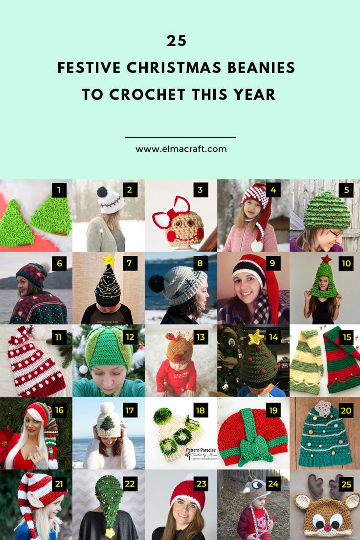 25 Festive Christmas Beanies to Crochet This Year